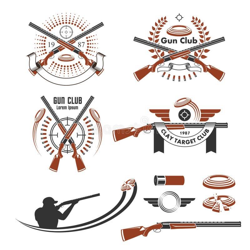 Emblèmes de cible d'argile et éléments de conception illustration libre de droits