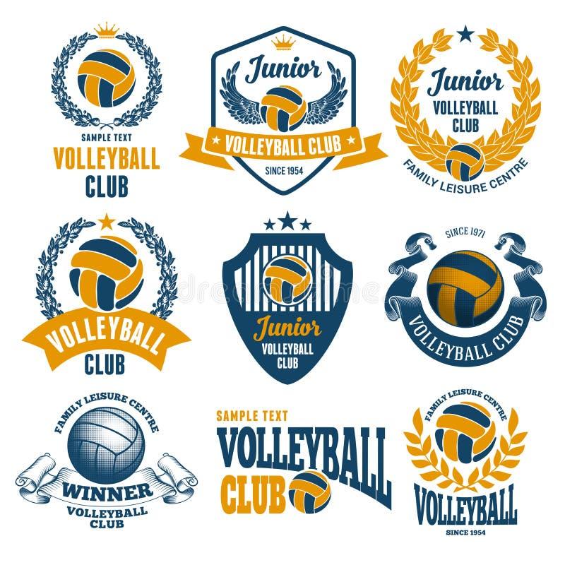 Emblèmes de club de volleyball illustration stock