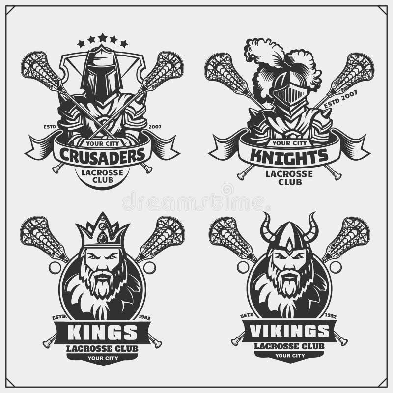 Emblèmes de club de lacrosse avec Viking, roi, chevalier et croisé illustration libre de droits