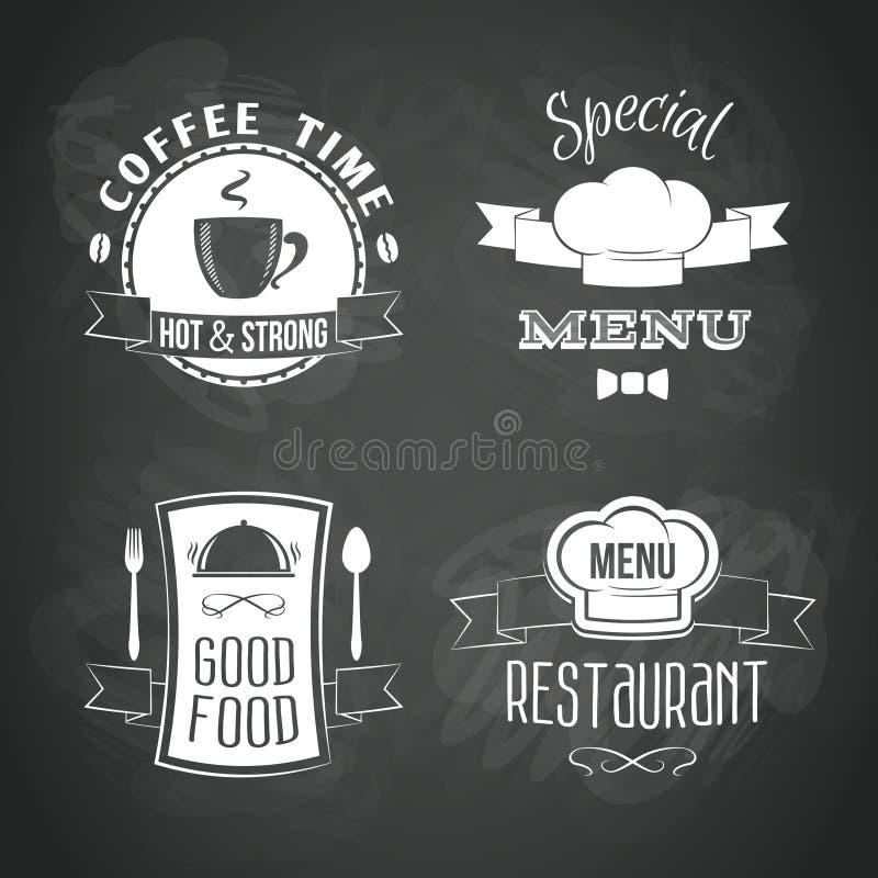 Emblèmes de menu de restaurant réglés illustration stock