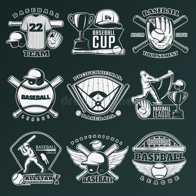 Emblèmes de monochrome de base-ball illustration stock