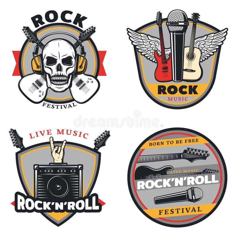 Emblèmes de musique rock colorés par vintage réglés illustration de vecteur