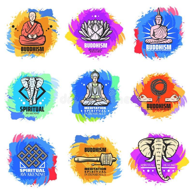 Emblèmes de religion de bouddhisme de vintage réglés illustration stock