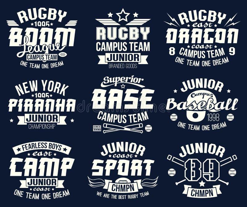 Emblèmes de sport collectif d'université de base-ball et de rugby illustration de vecteur