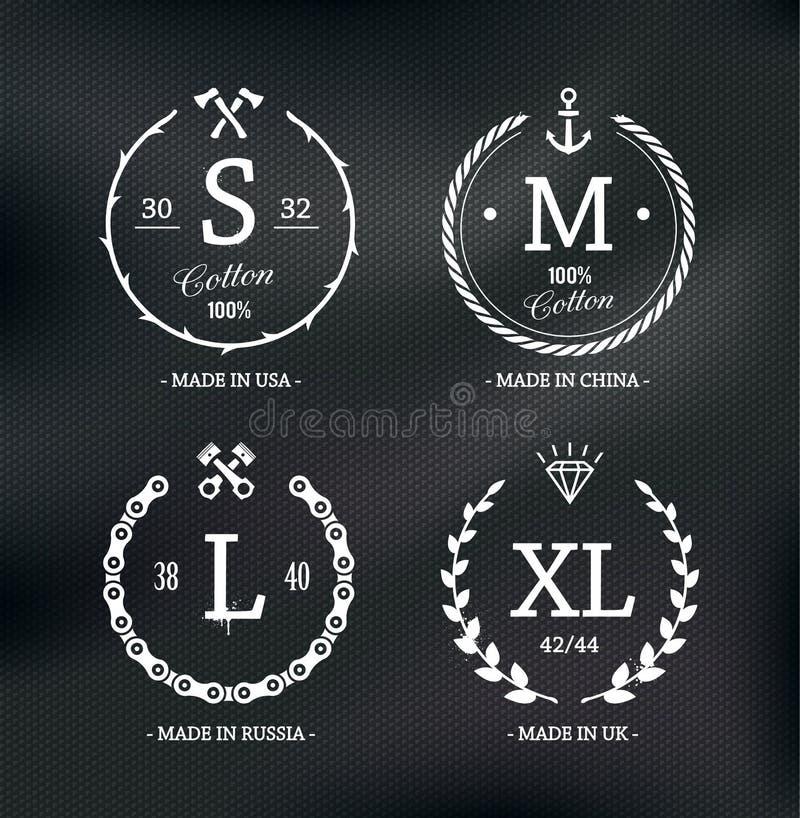 Emblèmes de taille d'usage illustration libre de droits
