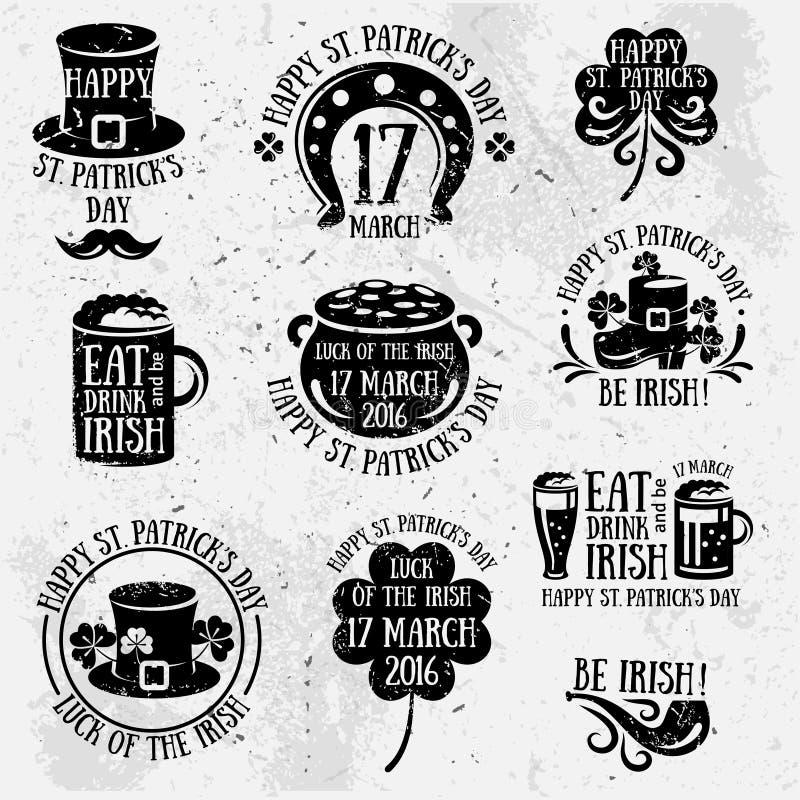 Emblèmes de typographie de jour de Patricks rétros illustration de vecteur