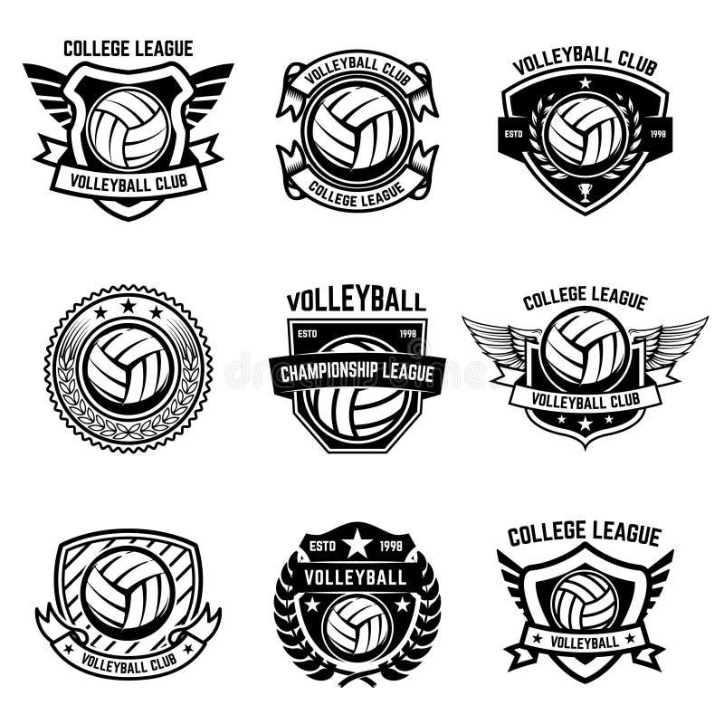 Emblèmes de volleyball sur le fond blanc Élément de conception pour le logo, illustration stock