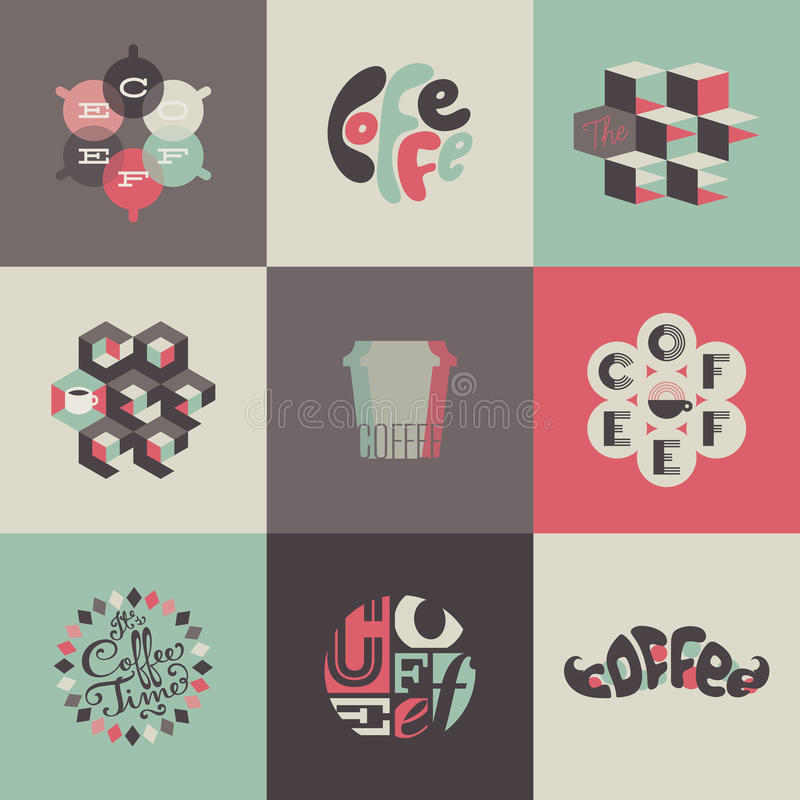 Emblèmes et labels de café. Ensemble d'affiches, conception  illustration libre de droits