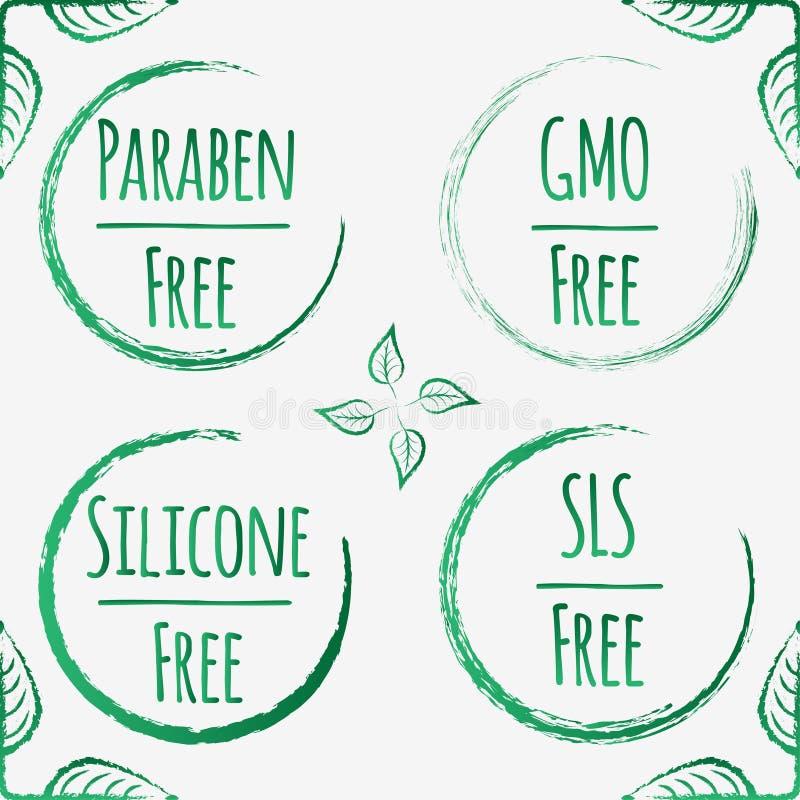 Emblèmes et labels de vecteur pour des produits biologiques photos stock