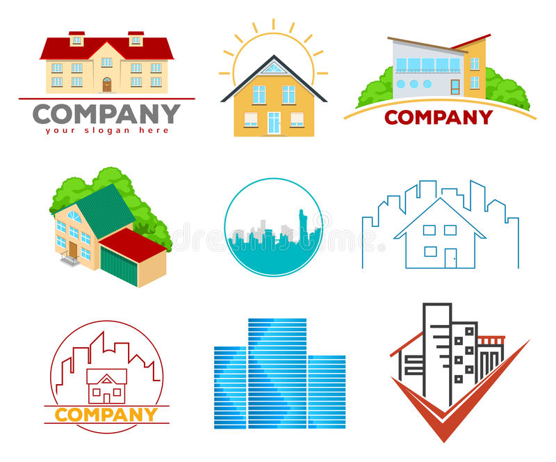 Emblèmes et logos de Real Estate illustration stock