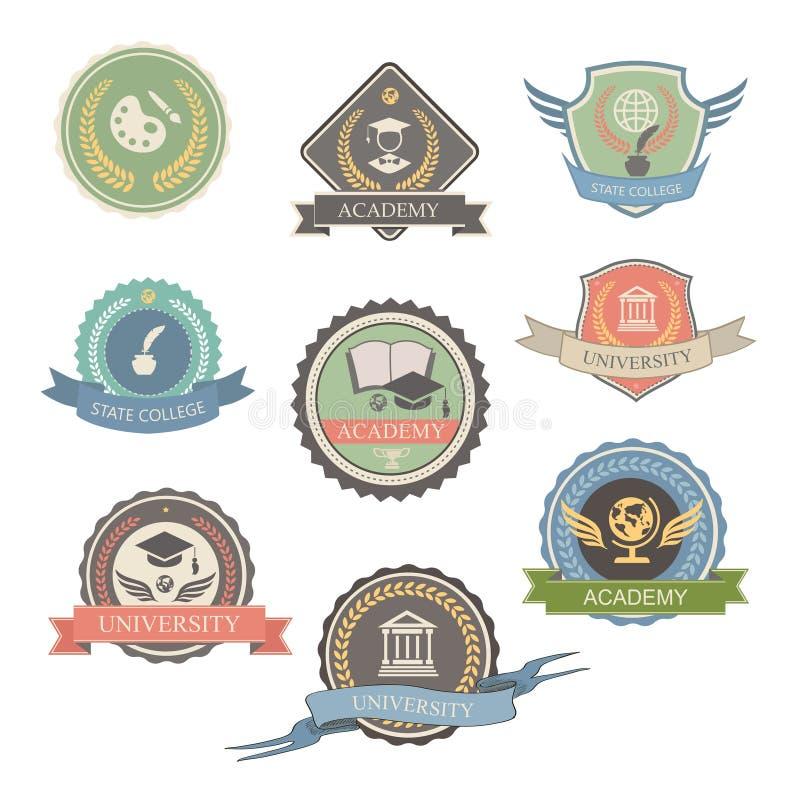Emblèmes et symboles d'université - d'isolement illustration libre de droits