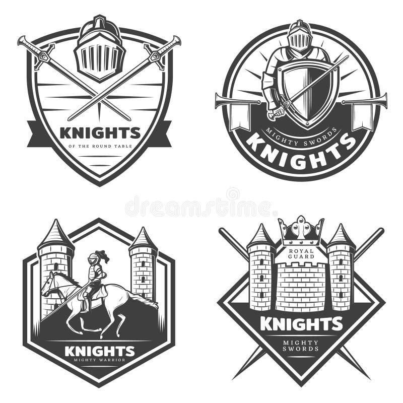 Emblèmes médiévaux de vintage réglés illustration stock