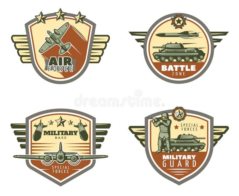 Emblèmes militaires colorés de vintage réglés illustration de vecteur