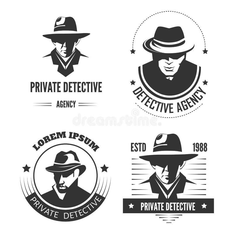 Emblèmes monochromes promotionnels de détective privé avec l'homme dans le chapeau et le manteau classique illustration libre de droits