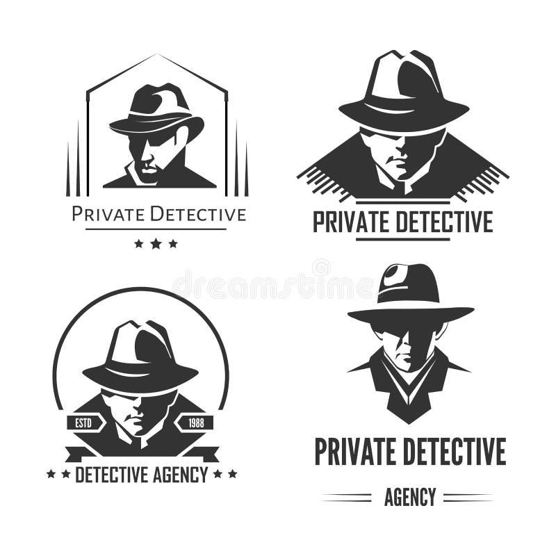 Emblèmes monochromes promotionnels de détective privé avec l'homme dans le chapeau et le manteau classique illustration stock