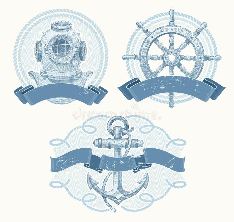 Emblèmes nautiques avec les éléments tirés par la main illustration libre de droits