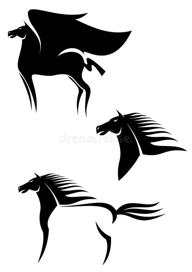 Emblèmes Noirs De Chevaux Photos stock
