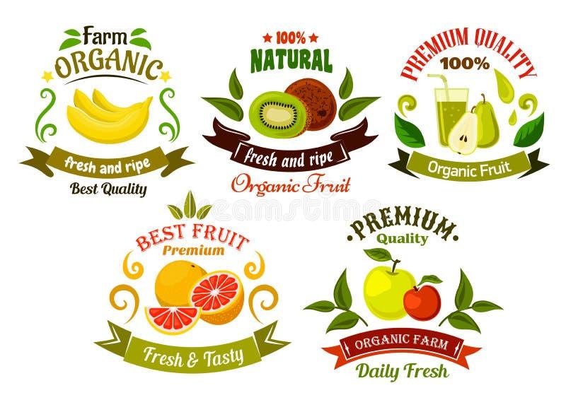 Emblèmes organiques et symboles de fruits frais illustration de vecteur