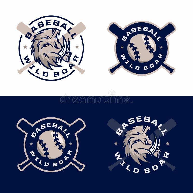 Emblèmes professionnels modernes réglés pour le tournoi de jeu de baseball illustration libre de droits