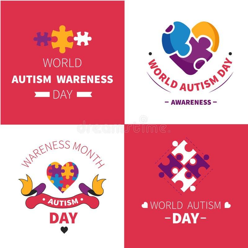 Emblèmes puzzle ou puzzles de trouble mental de jour de conscience d'autisme du monde illustration libre de droits