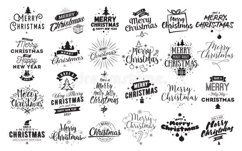 Emblèmes typographiques de Joyeux Noël réglés illustration de vecteur