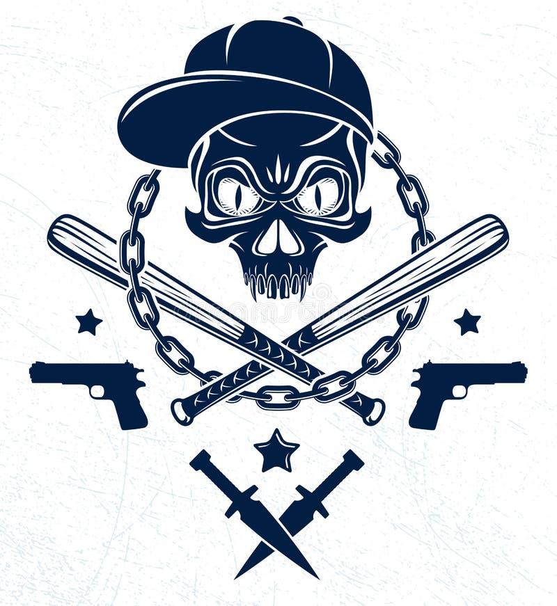 Embl?me brutal ou logo de bandit avec les battes de baseball agressives de cr?ne et d'autres armes et ?l?ments de conception, le  illustration libre de droits