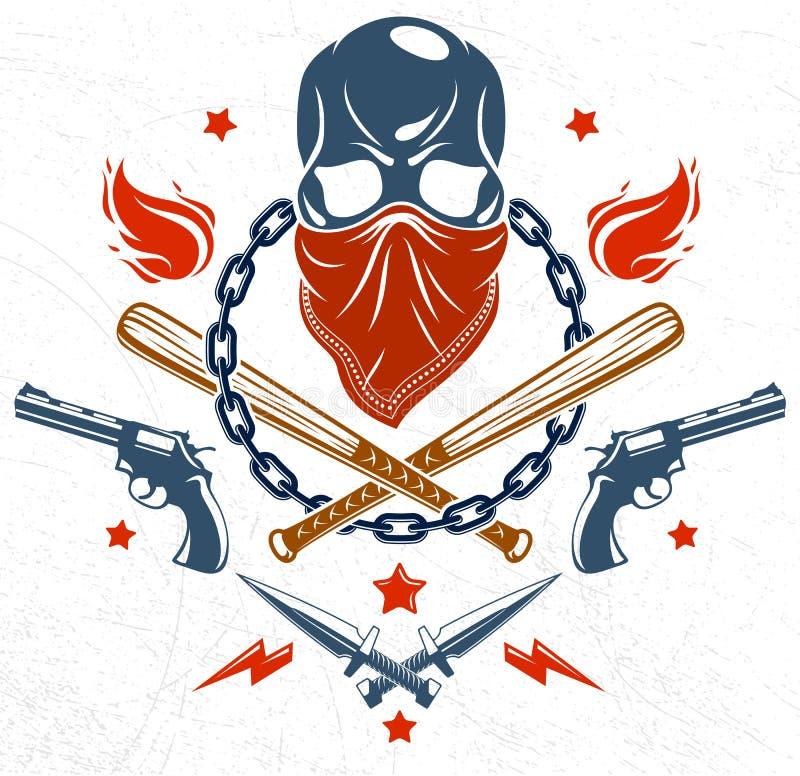 Embl?me criminel brutal ou logo de bande avec les battes de baseball agressives de cr?ne et d'autres armes et ?l?ments de concept illustration stock