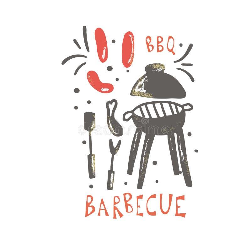 Embl?me de barbecue avec le texte Conception de vecteur d'isolement illustration stock
