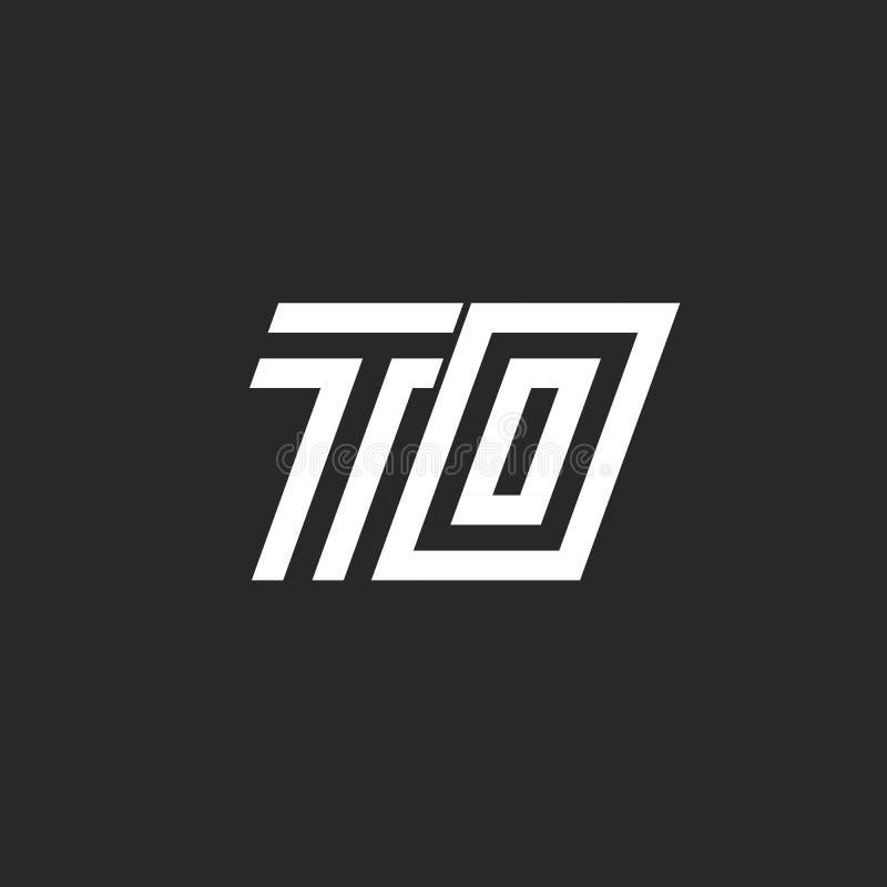 Embleem AAN het monogram eenvoudig lineair minimalistisch ontwerp van initialenbrieven, twee brieven T en O samen vector illustratie