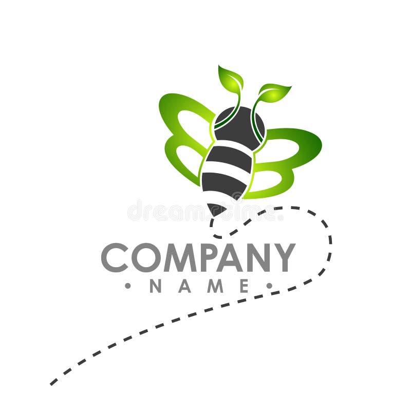 Embleem abstracte bij die met het groene vectorembleem van de bladvleugel illust vliegen stock illustratie