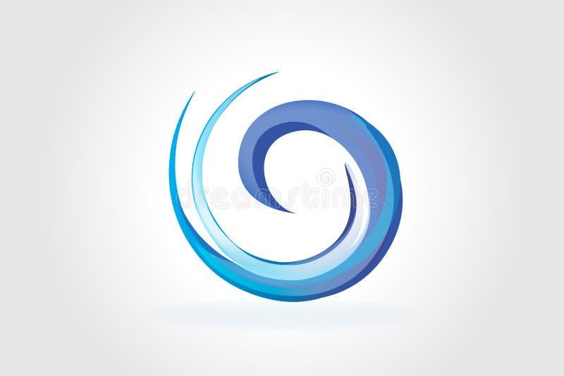 Embleem blauwe spiraalvormige golven stock illustratie