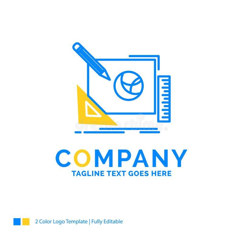embleem, creatief ontwerp, idee, de Blauwe Gele Zaken van het ontwerpproces stock illustratie