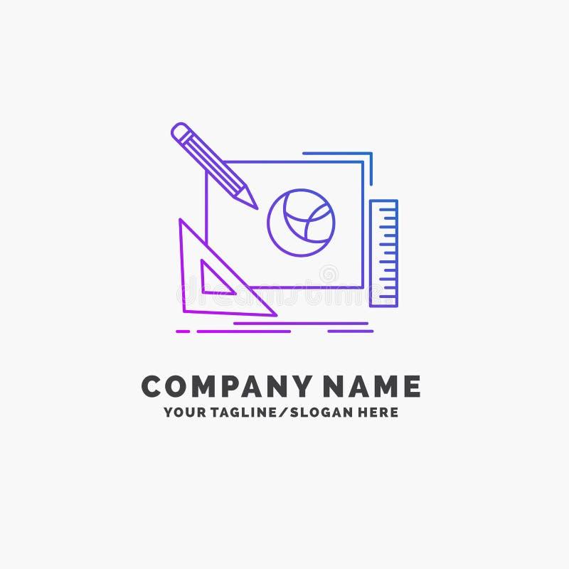 embleem, creatief ontwerp, idee, de Purpere Zaken Logo Template van het ontwerpproces Plaats voor Tagline vector illustratie
