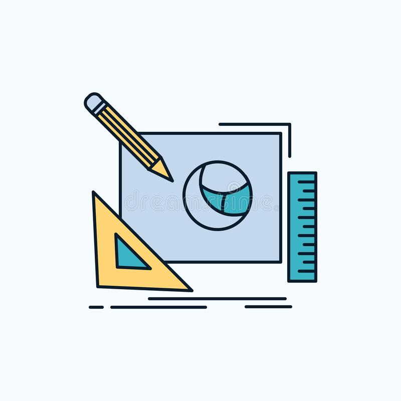 embleem, creatief ontwerp, idee, het Vlakke Pictogram van het ontwerpproces groene en Gele teken en symbolen voor website en Mobi stock illustratie