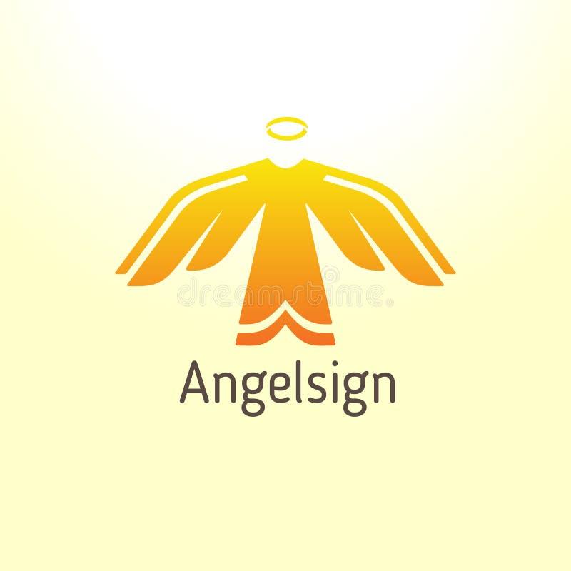 Embleem in de vorm van een engel die tot het licht toeneemt vector illustratie