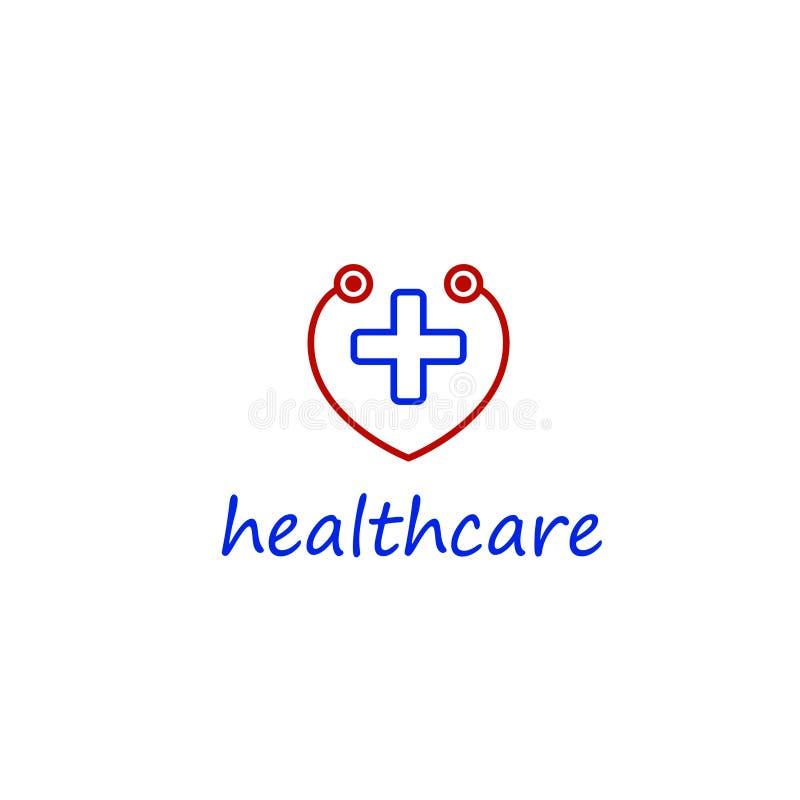 Embleem in de vorm van een hart met een kruis in het midden embleem van het medische centrum, symbool van medische behandeling royalty-vrije illustratie
