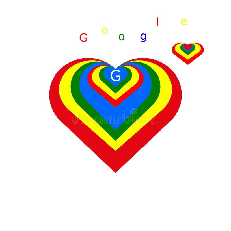 Embleem in de vorm van een hart voor Google vector illustratie