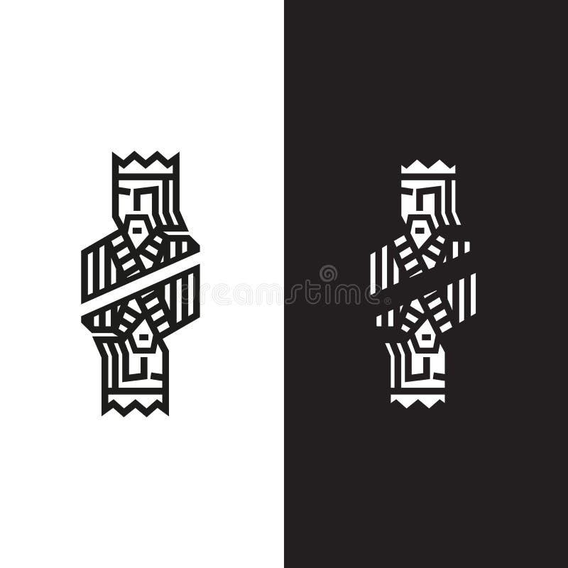 Embleem in de vorm van een koning stock illustratie