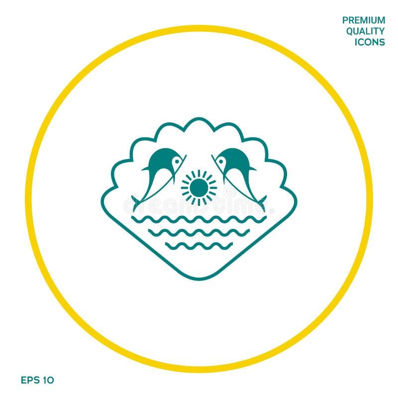 Embleem - Dolfijnen met de zon en het overzees - op de achtergrond van de zeeschelp Grafische elementen voor uw ontwerp vector illustratie