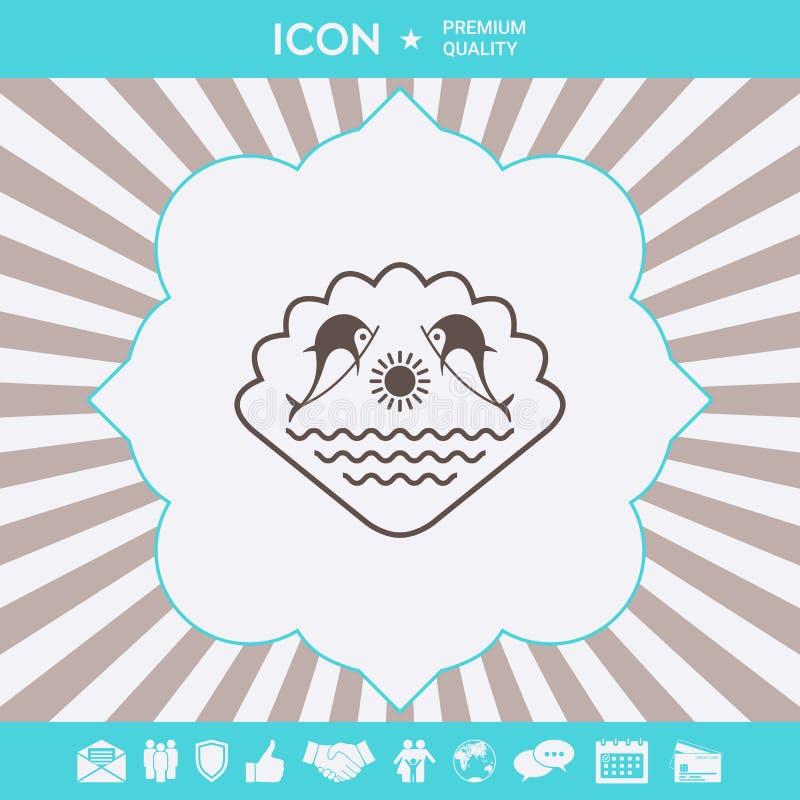 Embleem - Dolfijnen met de zon en het overzees - op de achtergrond van de zeeschelp Grafische elementen voor uw ontwerp stock illustratie