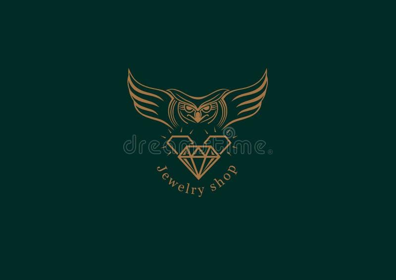 Embleem, een uil met vleugels op diamant royalty-vrije illustratie