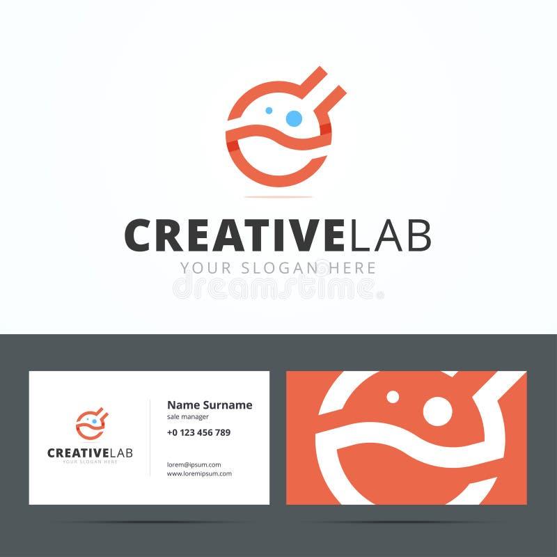 Embleem en adreskaartjemalplaatje voor creatieve studio royalty-vrije illustratie