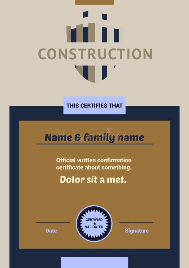 Embleem en identificatie van een bouwbedrijf De onvolledige bouw, schild vector illustratie
