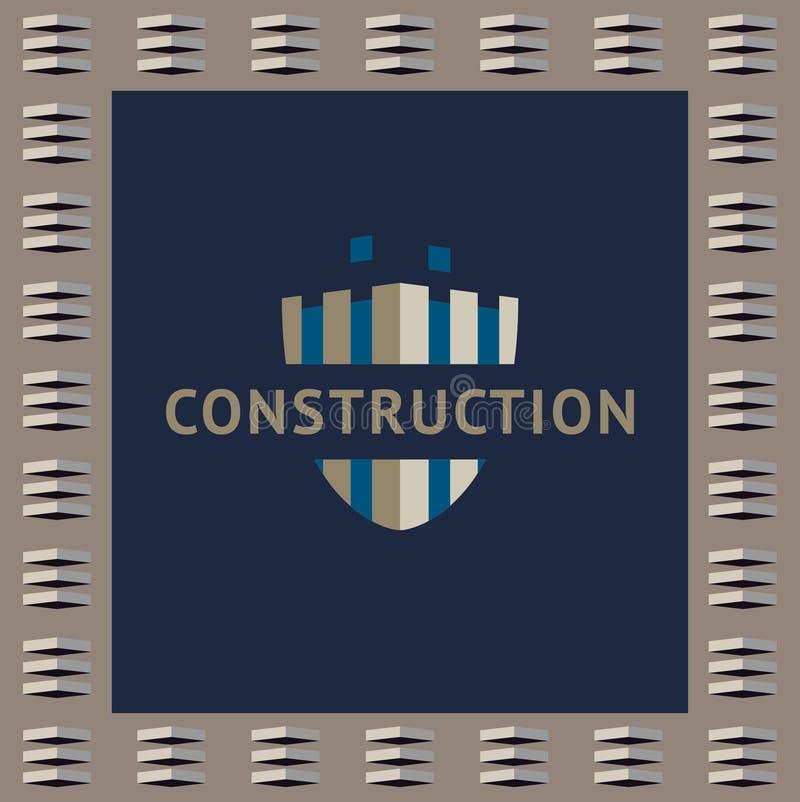 Embleem en identificatie van een bouwbedrijf De onvolledige bouw, schild stock illustratie