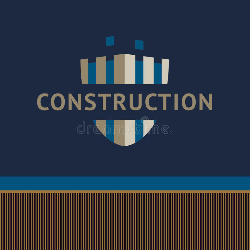 Embleem en identificatie van een bouwbedrijf Onvolledige bu vector illustratie