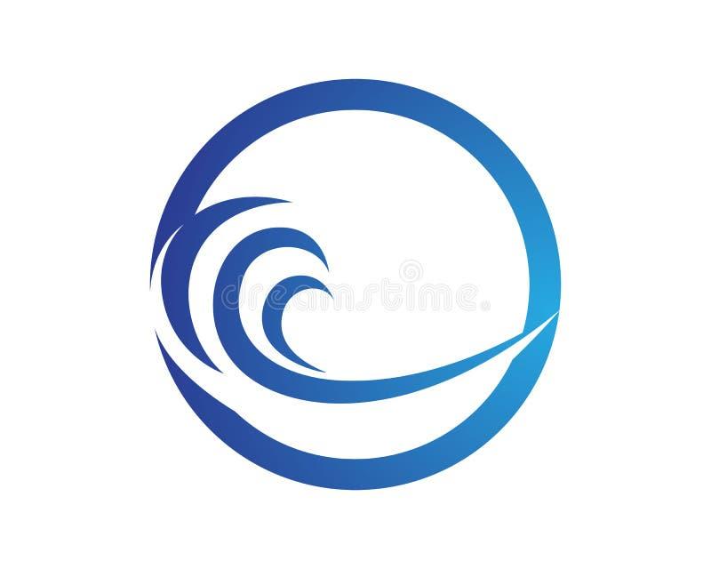 Embleem en symbolen van het golven de het blauwe strand stock illustratie