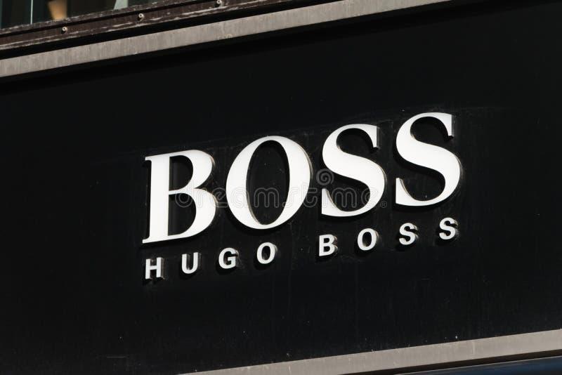 Embleem en teken van Hugo Boss Hugo Boss is Duits van de luxemanier en stijl huis dat in Metzingen bij 1924 wordt opgericht royalty-vrije stock fotografie