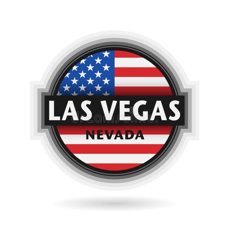 Embleem of etiket met naam van Las Vegas, Nevada stock illustratie