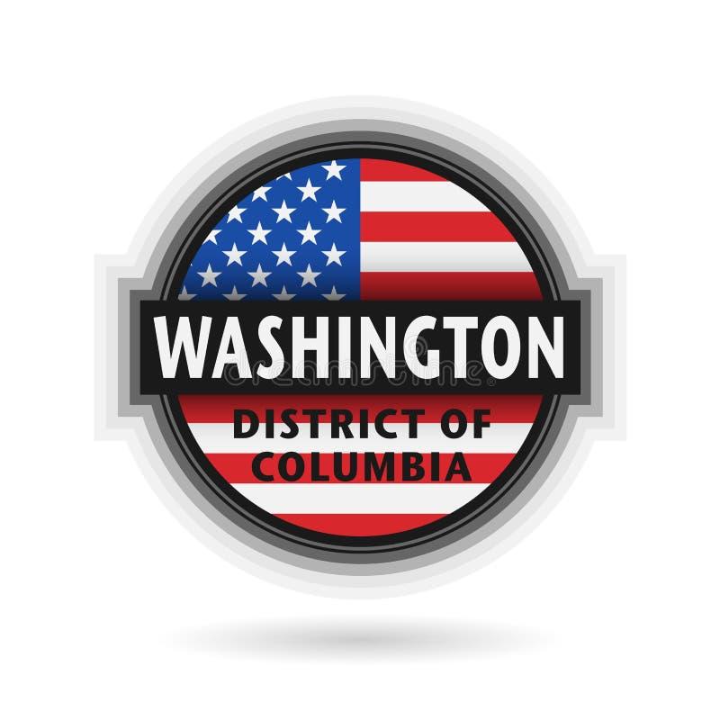 Embleem of etiket met naam van Washington, District van Colombia stock illustratie