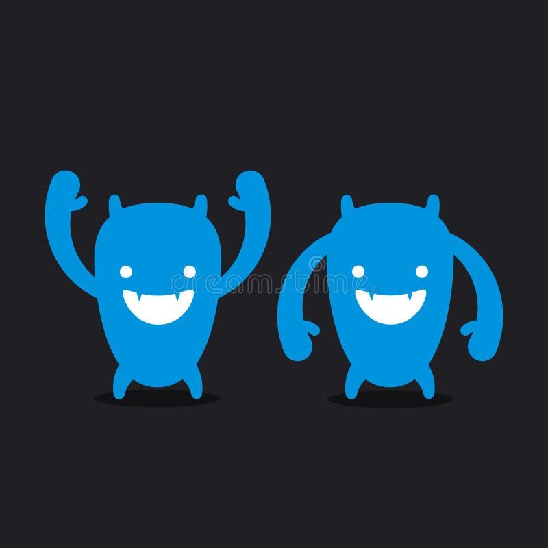 Embleem grappig monster, monsterhoofd royalty-vrije illustratie